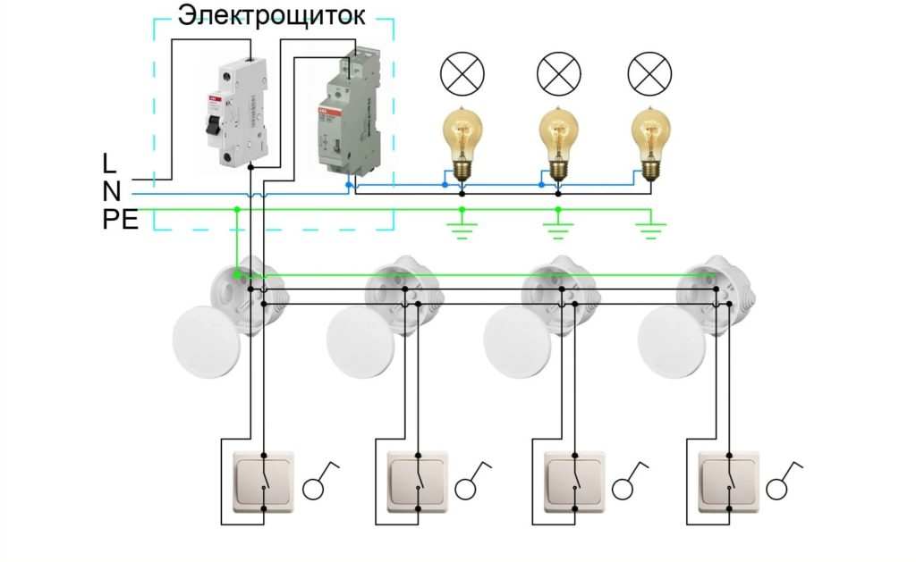 Схемы подключения светильников с многоточечным управлением