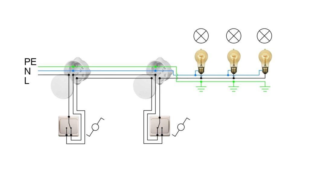 Управление светом с помощью переключателей.